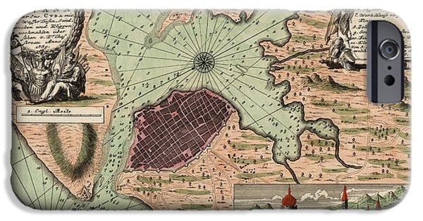 Havana iPhone Cases - Antique Map of Havana Cuba by Jacques Nicolas Bellin - 1739 iPhone Case by Blue Monocle