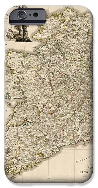 Daniel iPhone Cases - Antique Map of Ireland by Daniel Augustus Beaufort - 1797 iPhone Case by Blue Monocle
