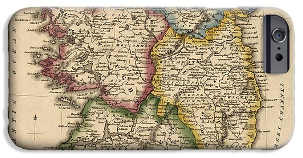 Fielding iPhone Cases - Antique Map of Ireland by Fielding Lucas - circa 1817 iPhone Case by Blue Monocle