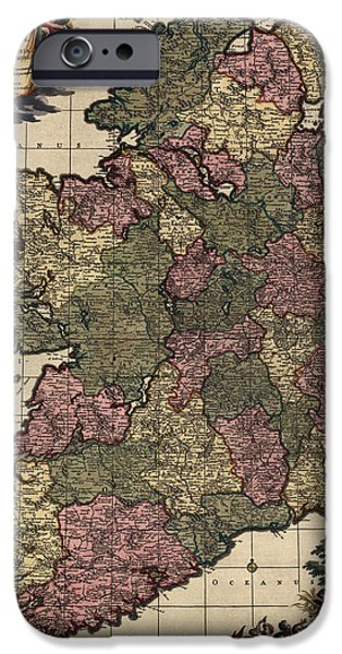 Ireland iPhone Cases - Antique Map of Ireland by Frederik de Wit - circa 1700 iPhone Case by Blue Monocle