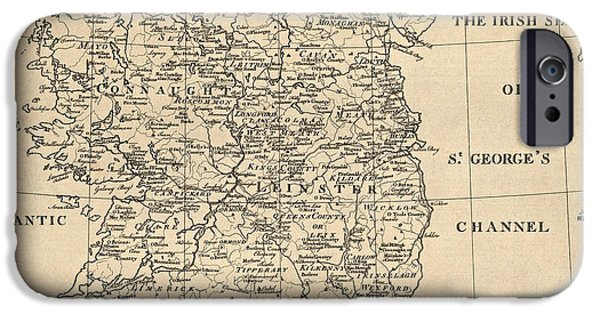 Ireland iPhone Cases - Antique Map of Ireland by S. Thompson - circa 1795 iPhone Case by Blue Monocle