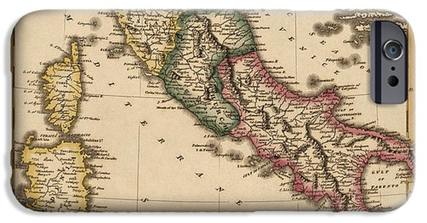 Recently Sold -  - Antiques iPhone Cases - Antique Map of Italy by Fielding Lucas - circa 1817 iPhone Case by Blue Monocle