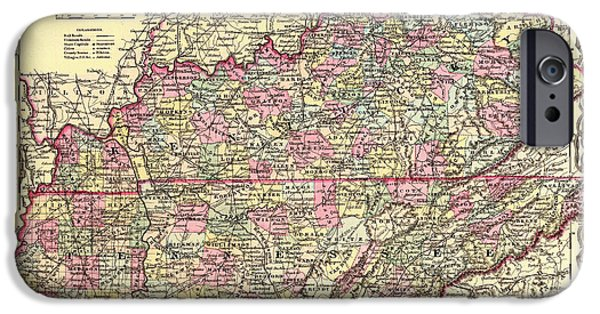 Tennessee Drawings iPhone Cases - Antique Map of Kentucky and Tennessee iPhone Case by Mountain Dreams