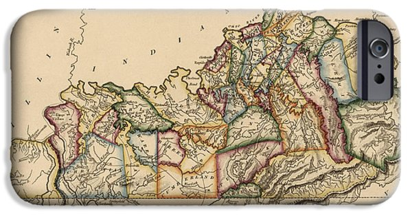 Vintage Map iPhone Cases - Antique Map of Kentucky by Fielding Lucas - circa 1817 iPhone Case by Blue Monocle