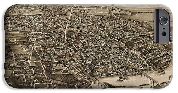 Tennessee Drawings iPhone Cases - Antique Map of Knoxville Tennessee by H. Wellge - 1886 iPhone Case by Blue Monocle