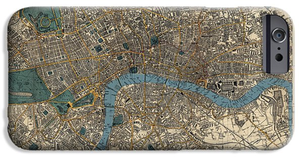 London Map iPhone Cases - Antique Map of London by C. Smith and Son - 1860 iPhone Case by Blue Monocle