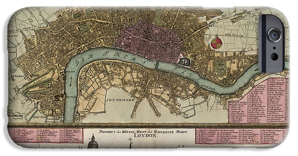 London Map iPhone Cases - Antique Map of London England by Johann Baptist Homann - circa 1750 iPhone Case by Blue Monocle