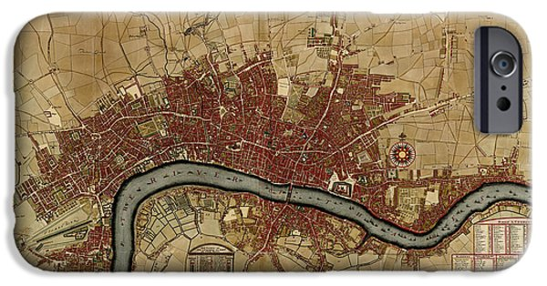 London Map iPhone Cases - Antique Map of London England by Robert Morden - 1700 iPhone Case by Blue Monocle