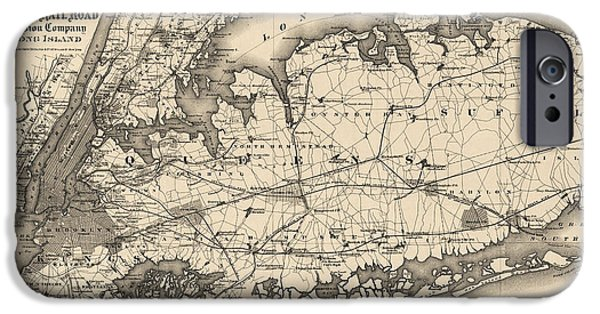 Cities Drawings iPhone Cases - Antique Map of Long Island and New York City - 1873 iPhone Case by Blue Monocle
