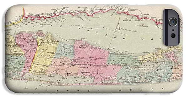 Antiques iPhone Cases - Antique Map of Long Island by J.H. Colton and Co. - 1857 iPhone Case by Blue Monocle