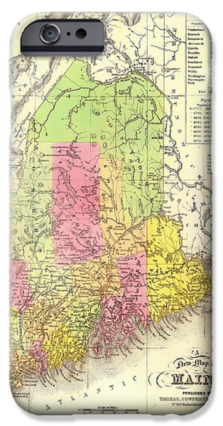 Maine Drawings iPhone Cases - Antique Map of Maine 1850 iPhone Case by Mountain Dreams