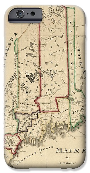 Maine iPhone Cases - Antique Map of Maine by A. T. Perkins - circa 1820 iPhone Case by Blue Monocle