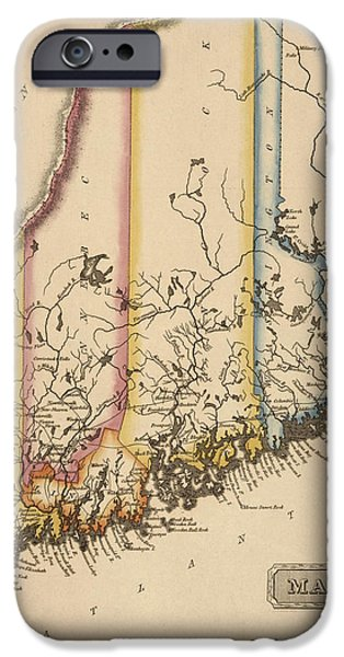 Maine Drawings iPhone Cases - Antique Map of Maine by Fielding Lucas - circa 1817 iPhone Case by Blue Monocle
