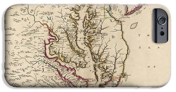 Chesapeake iPhone Cases - Antique Map of Maryland and Virginia by John Senex - 1719 iPhone Case by Blue Monocle