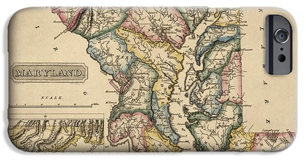 Fielding iPhone Cases - Antique Map of Maryland by Fielding Lucas - circa 1817 iPhone Case by Blue Monocle