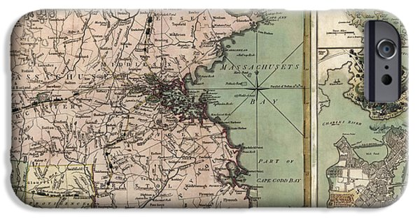 Map Of Boston iPhone Cases - Antique Map of Massachusetts by R. Sayer and J. Bennett - 1775 iPhone Case by Blue Monocle