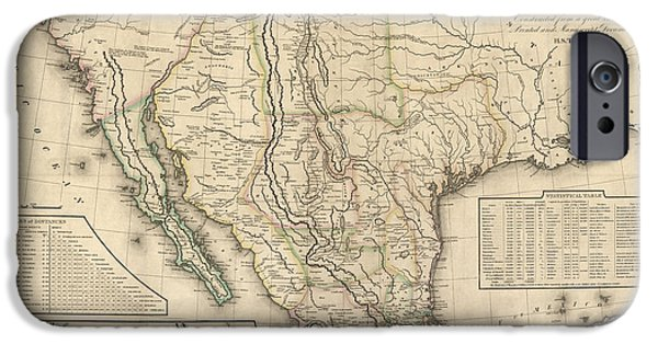 Mexico iPhone Cases - Antique Map of Mexico by Henry Schenck Tanner - 1826 iPhone Case by Blue Monocle