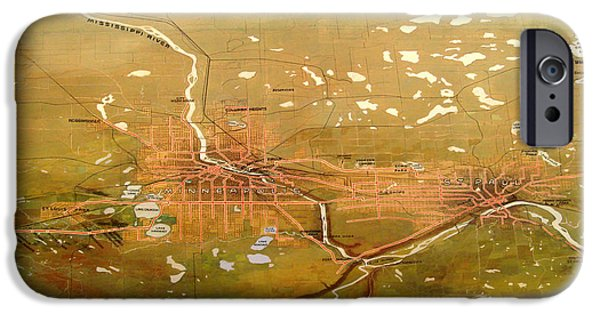 Minnesota Drawings iPhone Cases - Antique Map of Minneapolis and St Paul 1904 iPhone Case by Mountain Dreams