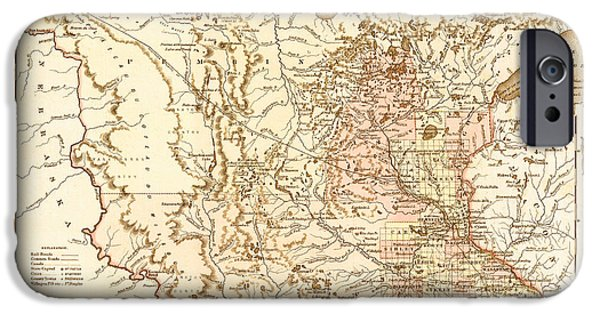 Minnesota Drawings iPhone Cases - Antique Map of Minnesota 1855 iPhone Case by Mountain Dreams