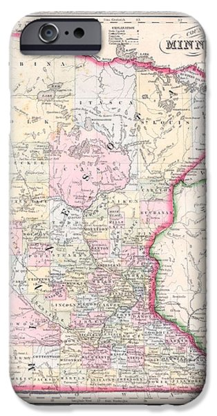 Minnesota Drawings iPhone Cases - Antique Map of Minnesota 1864 iPhone Case by Mountain Dreams
