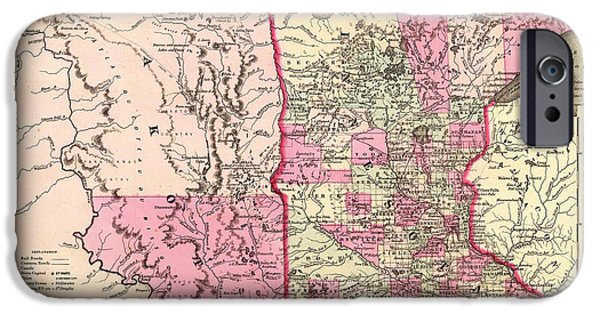 Minnesota Drawings iPhone Cases - Antique Map of Minnesota and the Dakota Territory 1862 iPhone Case by Mountain Dreams