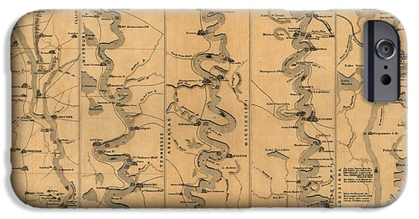 Mississippi iPhone Cases - Antique Map of Mississippi River by Schonberg and Co. - 1861 iPhone Case by Blue Monocle
