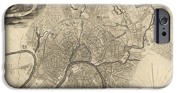 Moscow iPhone Cases - Antique Map of Moscow Russia by Ivan Fedorovich Michurin - 1745 iPhone Case by Blue Monocle