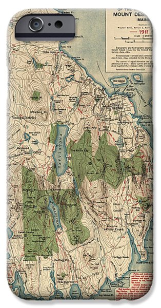 Maine Drawings iPhone Cases - Antique Map of Mount Desert Island - Acadia National Park - by Waldron Bates - 1911 iPhone Case by Blue Monocle