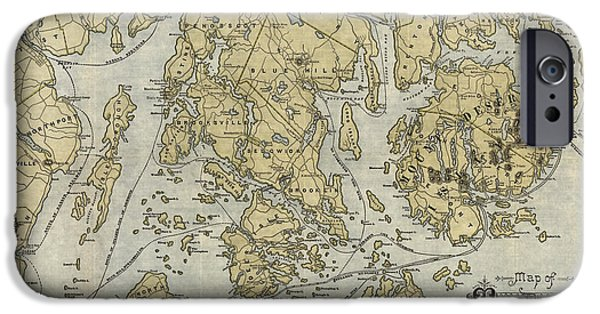 Maine Drawings iPhone Cases - Antique Map of Mount Desert Island and the Coast of Maine - circa 1900 iPhone Case by Blue Monocle
