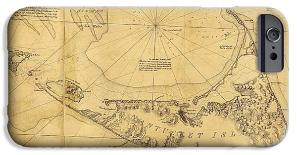 Colour Drawings iPhone Cases - Antique Map of Nantucket iPhone Case by Des Barres