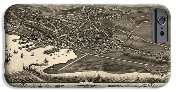 Nantucket iPhone Cases - Antique Map of Nantucket Massachusetts by J.J. Stoner - 1881 iPhone Case by Blue Monocle