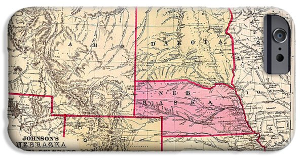 Colorado Drawings iPhone Cases - Antique Map of Nebraska Dakota Colorado Idaho and Kansas 1863 iPhone Case by Mountain Dreams