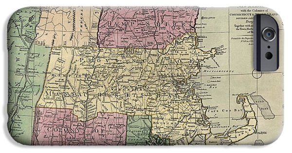 New Drawings iPhone Cases - Antique Map of New England by Carington Bowles - circa 1780 iPhone Case by Blue Monocle