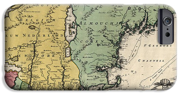 Maine iPhone Cases - Antique Map of New England by Johann Baptist Homann - circa 1760 iPhone Case by Blue Monocle