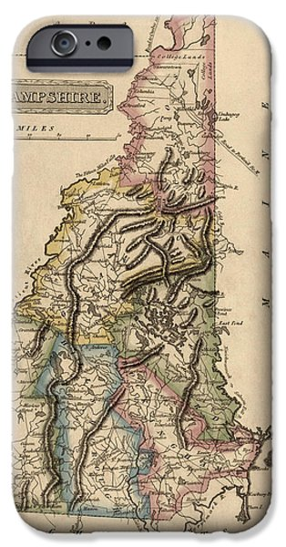 Hampshire iPhone Cases - Antique Map of New Hampshire by Fielding Lucas - circa 1817 iPhone Case by Blue Monocle
