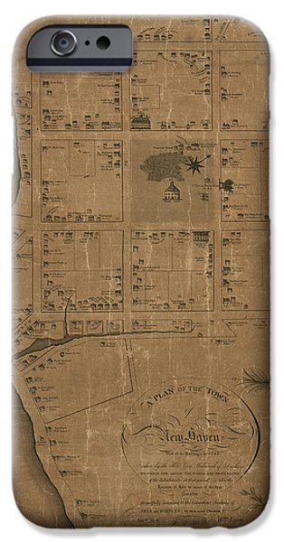 Lyon iPhone Cases - Antique Map of New Haven by William Lyon - 1806 iPhone Case by Blue Monocle
