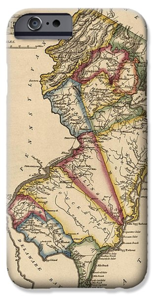 New Jersey iPhone Cases - Antique Map of New Jersey by Fielding Lucas - circa 1817 iPhone Case by Blue Monocle