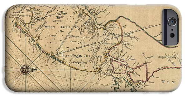New Drawings iPhone Cases - Antique Map of New Jersey by John Worlidge - 1706 iPhone Case by Blue Monocle