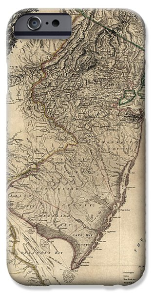 New Jersey iPhone Cases - Antique Map of New Jersey by William Faden - 1778 iPhone Case by Blue Monocle