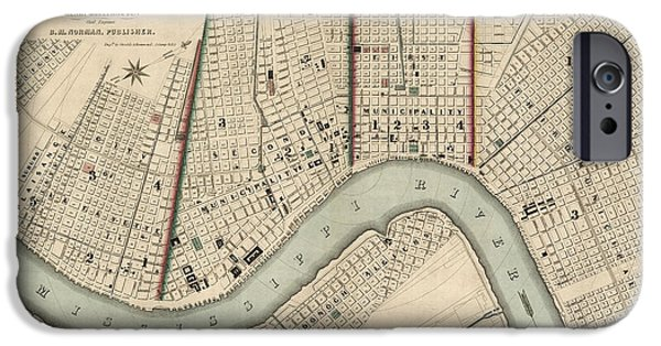 New Drawings iPhone Cases - Antique Map of New Orleans by Balduin Mollhausen - 1845 iPhone Case by Blue Monocle