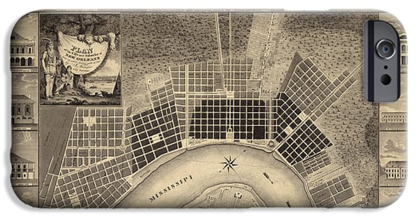 New Drawings iPhone Cases - Antique Map of New Orleans by I. Tanesse - 1817 iPhone Case by Blue Monocle