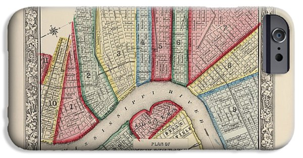 New Drawings iPhone Cases - Antique Map of New Orleans Louisiana by Samuel Augustus Mitchell - 1863 iPhone Case by Blue Monocle