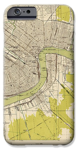 Recently Sold -  - Antiques iPhone Cases - Antique Map of New Orleans - USGS Topographic Map - 1932 iPhone Case by Blue Monocle
