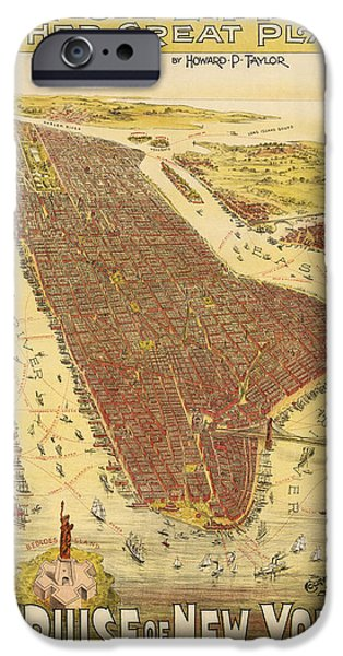 Emmett iPhone Cases - Antique Map of New York City - 1891 iPhone Case by Blue Monocle
