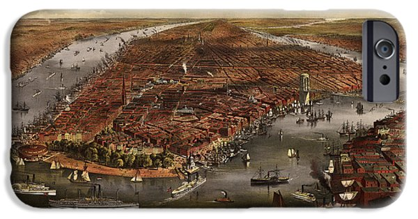 Old And New iPhone Cases - Antique Map of New York City by Currier and Ives - 1870 iPhone Case by Blue Monocle