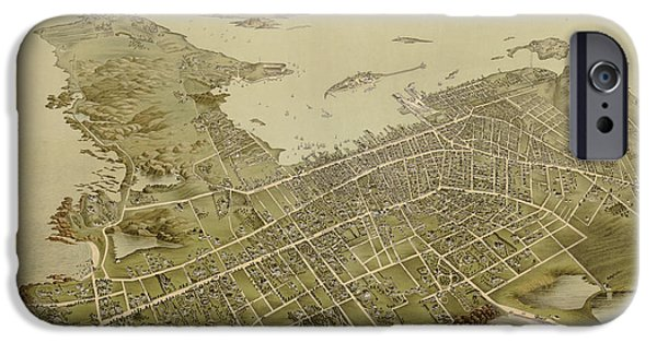 Newport iPhone Cases - Antique Map of Newport Rhode Island by Galt and Hoy - 1878 iPhone Case by Blue Monocle