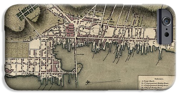 Recently Sold -  - Antiques iPhone Cases - Antique Map of Newport Rhode Island by William Faden - 1777 iPhone Case by Blue Monocle