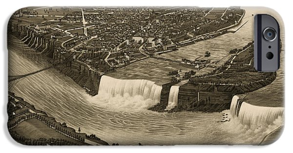 Niagara Falls iPhone Cases - Antique Map of Niagara Falls New York by H. Wellge - 1882 iPhone Case by Blue Monocle