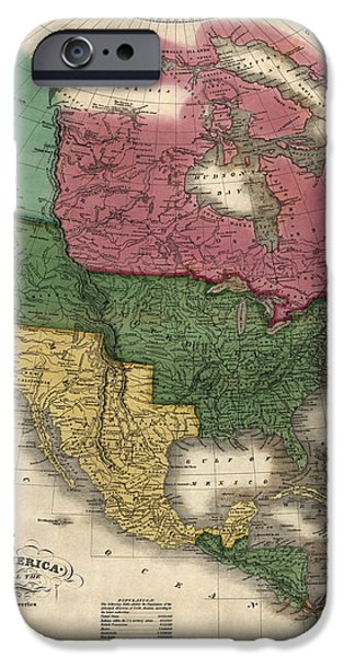 Canada Map iPhone Cases - Antique Map of North America by D. H. Vance - 1826 iPhone Case by Blue Monocle
