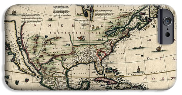 North Drawings iPhone Cases - Antique Map of North America by Jan Jansson - circa 1652 iPhone Case by Blue Monocle